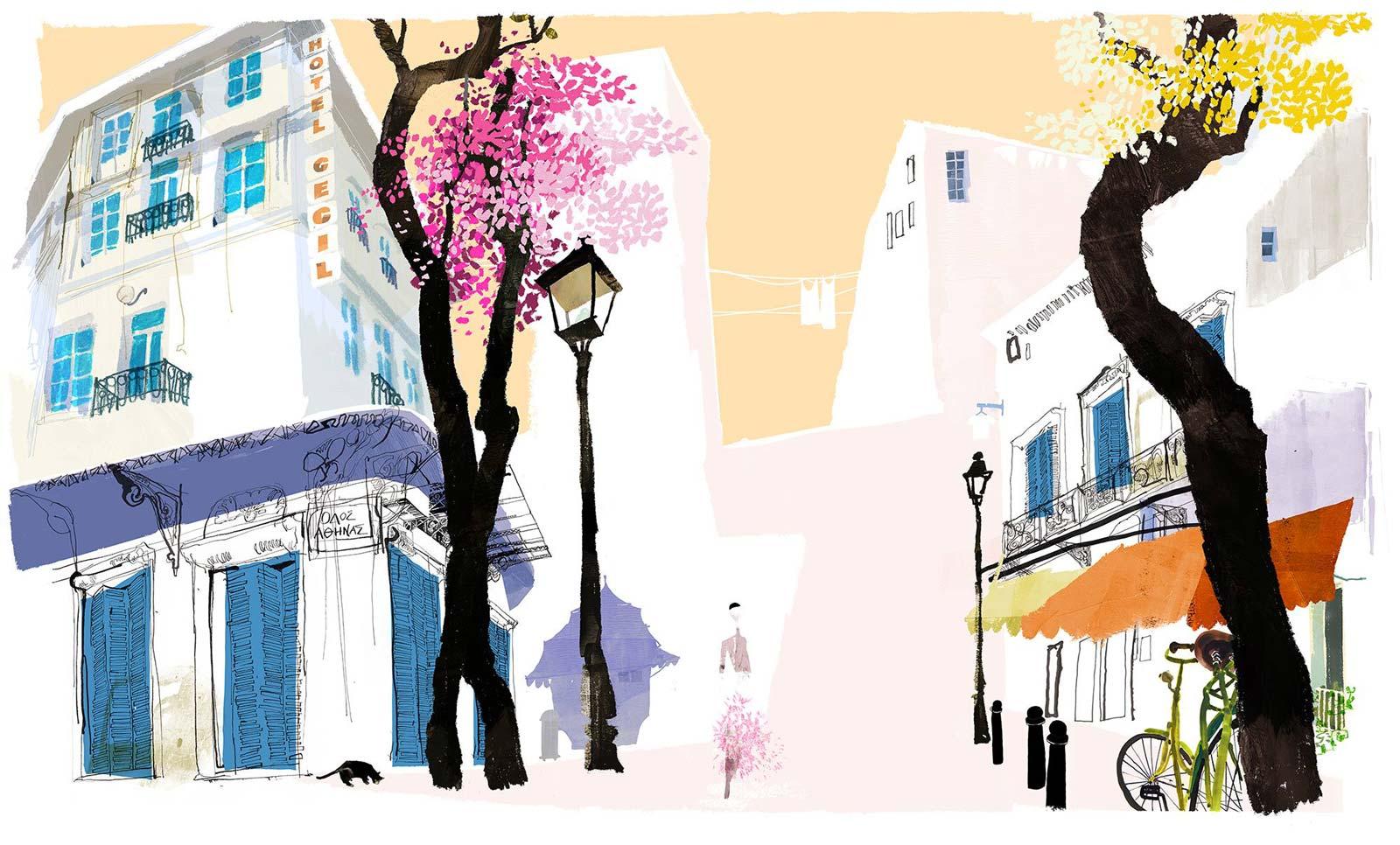 Daniel Egnéus' drawings of an everyday walk in Athens
