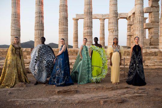 Mary Katrantzou SS 2020 fashion show at the Temple of Poseidon