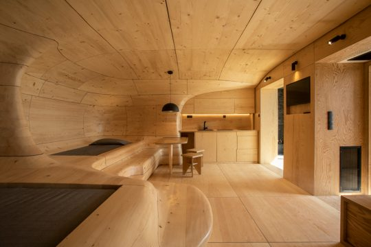 Wooden Cave at Hyades Mountain Resort in Trikala Korinthias by Tenon Architecture