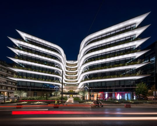 Orbit Urban Office Campus in Athens illuminated by Danilof Light + Visual Perception Studio